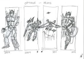 Optimus Prime 1 to 4 by JMK-Prime