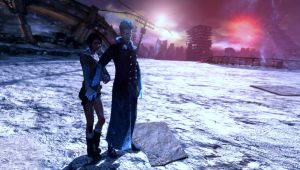 Vergil protects Kat DMC by Hatredboy