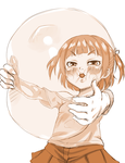 Marui Mitsuba blows up a large balloon by o0Anoni-chan0o