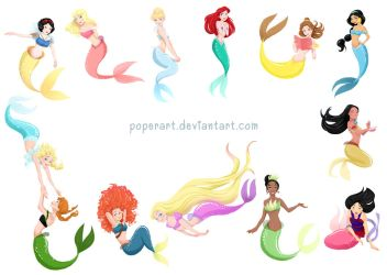 princess mermaids (mermaid fan artbook) by poperart