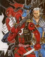 deadpool cable spidey ap card by johnjackman