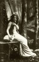 Vintage woman in the forest 003 by MementoMori-stock