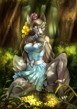 YCH Comission: Furry and the Flowers by NeylaTL