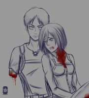 Sketch ErenxMikasa [Shingeki no Kyojin] by Antifashion19