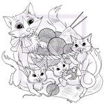 Mommy Cat and Kittens Play With Yarn by EmilyCammisa