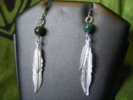 Feather Dangle earrings by BacktoEarthCreations