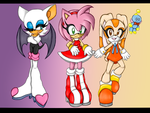 Sonic Girls and a Chao by nacato