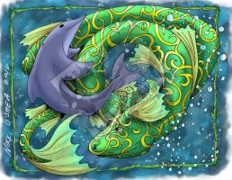 Dolphin and Dragon Playing by DragonPress
