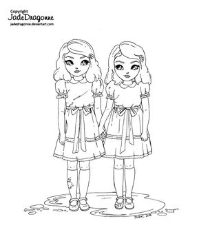 The Shining Twins - Lineart by JadeDragonne