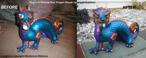 Windstone Editions Peacock Sun Dragon Repair by drag0nfeathers