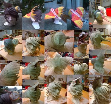 Owl Girl Morph Sculpt Collage by TheRed-JumpingSpider