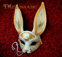White March-of-time Hare mask by merimask