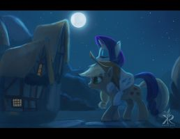 Late night at Ponyville by RaikohIllust