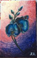blue Orchids - acrylic painting by Sandy-reaper