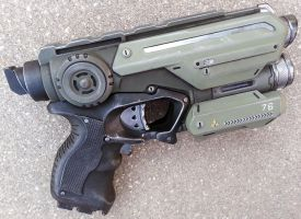 Custom Halo Inspired Nerf Firestrike pistol prop by firebladecomics