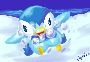 Piplup, use Bubble