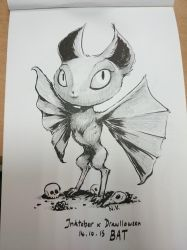 Inktober feat. Drawlloween #14 : BAT by Myev07