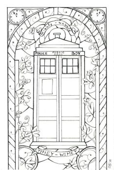 Stained Glass: Tardis (Outlines) by Scarlett-Winter