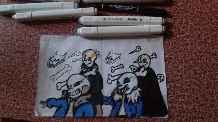 Sans and Gaster Before and After by PheonixDrawsYT