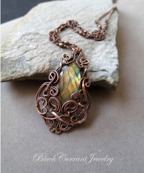 Fall Colors - Labradorite and Copper Pendant by blackcurrantjewelry