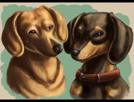 Dualing Dachshunds by Unibomber703