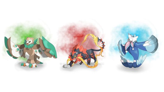 Sun and Moon Starters  Evo Prediction 2 by ShinyGazza
