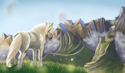 Unicorn and Mountains by Taiyles