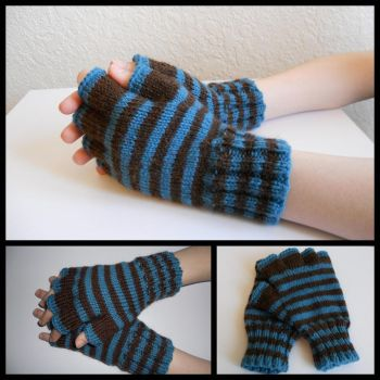Striped Gloves by StrangeKnits