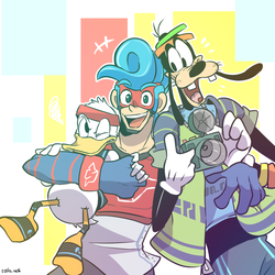 spring man and Donald and goofy by EZstrongs