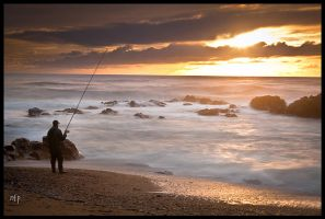 Fishing on the sunset by nfp