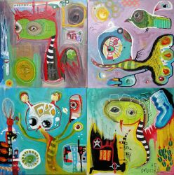 Outsider Art: Four small ones by bugatha1