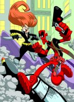 Deadpool and Black Widow color by Madatom