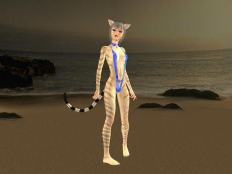 Chou-Kitty at the beach by WickedPrince