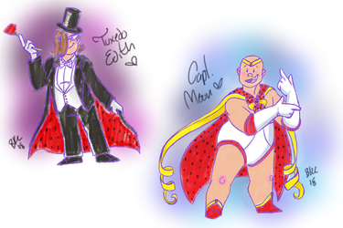 Captain Moon and Tuxedo Edith by 0ArmoredSoul0