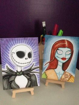 Jack Skellington and Sally maker sketch cards