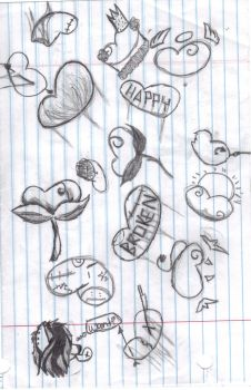 more heart doodles by 9ilovetodraw8