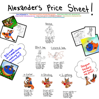 Alexander's Commission-Price Sheet! by DeanNClark