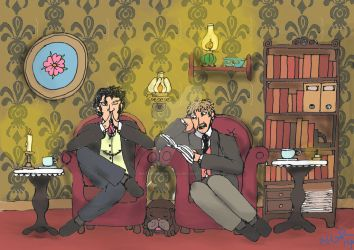 Sherlock and John relaxing at home by naturegirlrocks