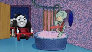 Merlin drops by Squidward's House by Wildcat1999