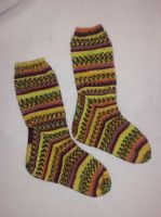 Yellow Squircle socks by KnitLizzy