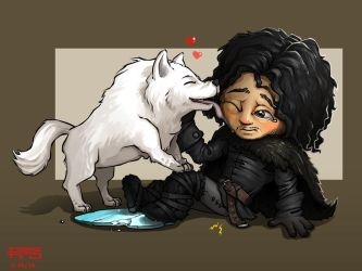 Chibi Jon Snow, feat. Ghost. by MakingPicsSlowly