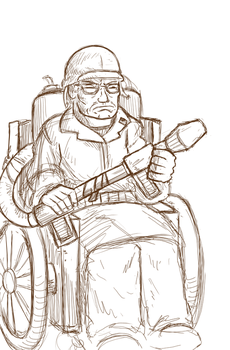 WheelchairFlameThrowerMarineVeteran by Paladin-Ciel