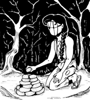 Inktober #9 - The Cairn Builder by pinearts