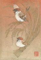 Joy dancing sparrow by Hiroo-Suzuki