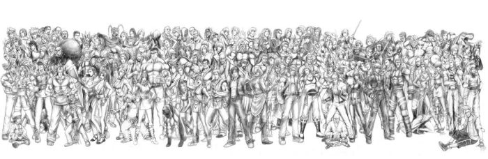 King of Fighters - All Characters (Line Art) by SoulStryder210