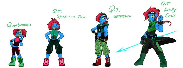 Quantumtale: TimeKid Undyne Outfit Timeline by perfectshadow06
