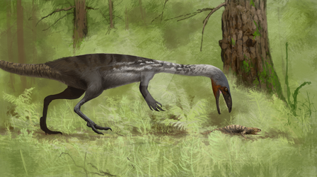 Lucianovenator and rhynchosaur by Lucas-Attwell