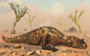 Carnotaurus Dinosaurs,Sitting Out A Sandstorm. by MasPix