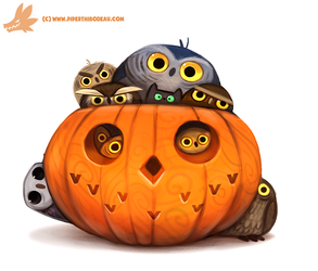Daily Paint #1075. Happy 'Owlween by Cryptid-Creations