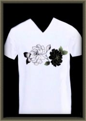 -b+w rose on wh. t-shirt- by Gold-Angel